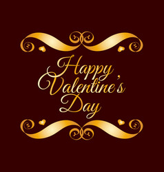 happy valentines day golden badge over brown vector image