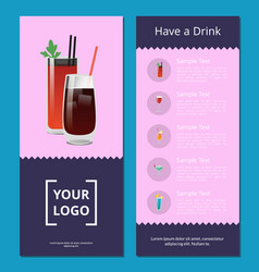 have a drink poster with bloody mary whiskey cola vector image