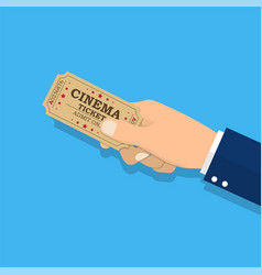 holds tickets in hand vector image
