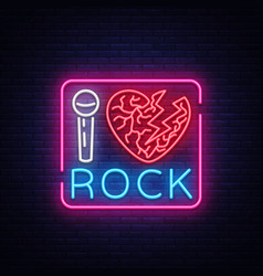 i love rock neon signboard rock music neon sign vector image