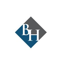 initial bh rhombus logo design vector image
