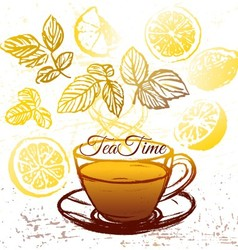 Ink hand drawn cup of herbal tea with lemon vector