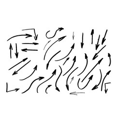 isolated hand drawn arrows set on a white vector image