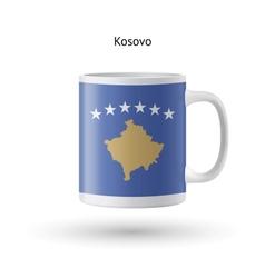 Kosovo flag souvenir mug on white background vector