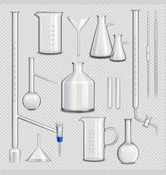 Laboratory glassware transparent set vector