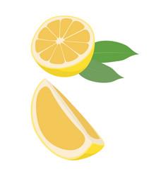 lemon fruit with leaf on white vector image
