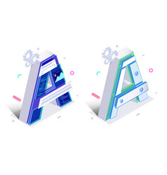 letters a with mechanism links vector image