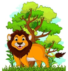 lion cartoon with forest background vector image vector image