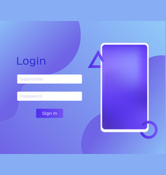 login application with password via phone vector image
