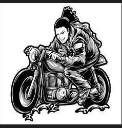 Man riding a retro motorcycle hand drawing vector
