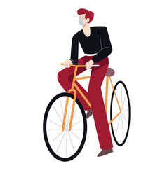 Medical mask on man riding bicycle isolated vector