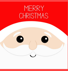 merry christmas santa claus big head face red hat vector image