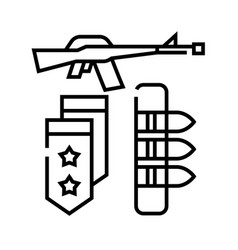 Military weapons line icon concept sign outline vector