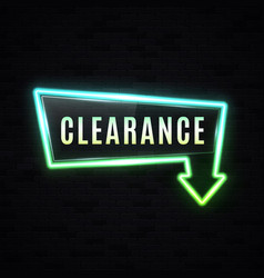 Neon clearance sale sign discount banner vector