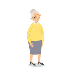 Old woman senior lady with glasses standing cute vector