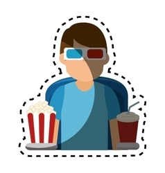 Person watching 3d movies vector