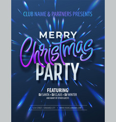 poster merry christmas party with holographic vector image