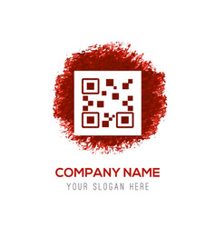 Qr code icons - red watercolor circle splash vector