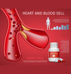 Realistic heart and blood sell informative banner vector