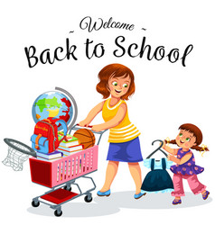 school shopping with mom poster vector image