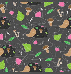 Seamless pattern with forest plants mushrooms and vector
