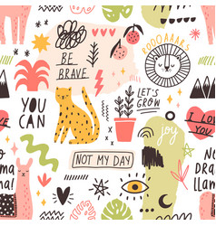 seamless pattern with handwritten slogans and vector image