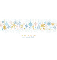 Seamless snowflake border festive decoration vector