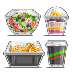 Set for meal delivery service vector