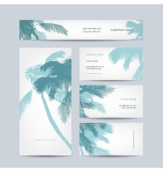 Set of business cards design palm tree vector image