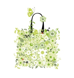 Shopping bag floral design vector image