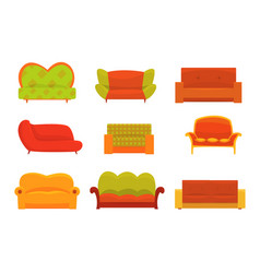 sofas and armchairs interior elements vector image