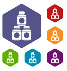 sport nutrition containers icons set vector image
