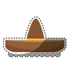 sticker colorful traditional mexican hat design vector image
