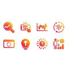Stock analysis question mark and swipe up icons vector