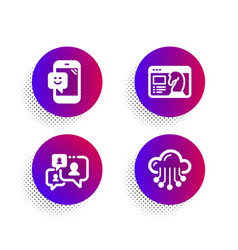 support chat smile and seo strategy icons set vector image