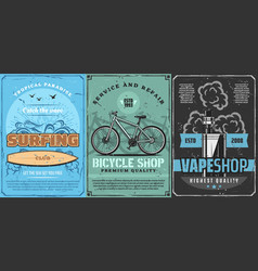 Surfing board bicycle or bike and vape kit vector