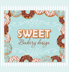 Sweet bakery design template cartoon hand drawn vector