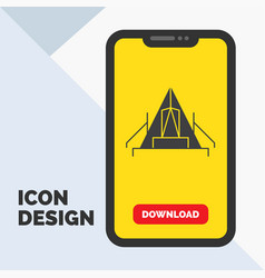 Tent camping camp campsite outdoor glyph icon in vector