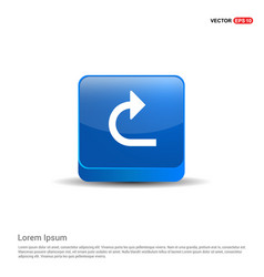 turn right arrow icon - 3d blue button vector image