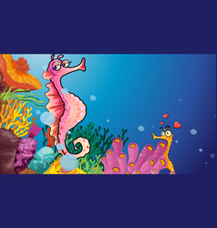 Underwater scene with seahorse cartoon character vector