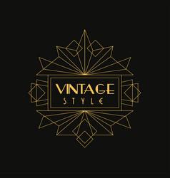 vintage style logo art deco design element vector image