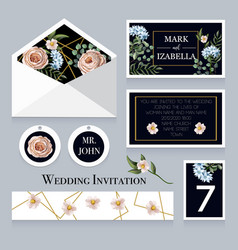 wedding invitation with english roses vector image