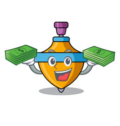 With money spinning top mascot cartoon vector