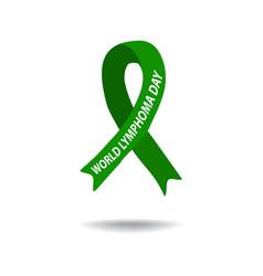 world lymphoma awareness day green ribbon vector image