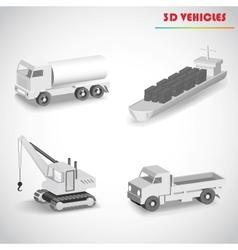 barge crane truck 3d vector image