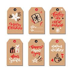 christmas modern gift tags set with hand drawn vector image vector image