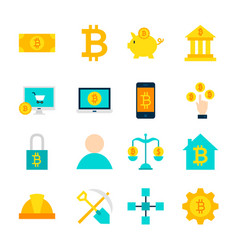 Cryptocurrency bitcoin objects vector