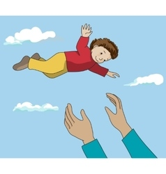 Father throw up happy kid in air vector image
