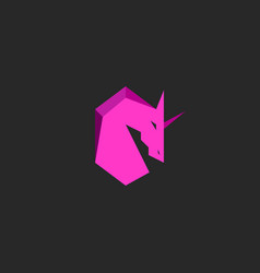 Head unicorn logo pink silhouette horse with horn vector