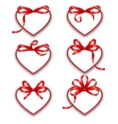 Set Paper Cards in Form Hearts with Red Bows for vector image